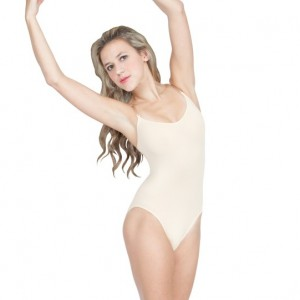 Nylon Lycra Camisole Leotard with Clear Straps