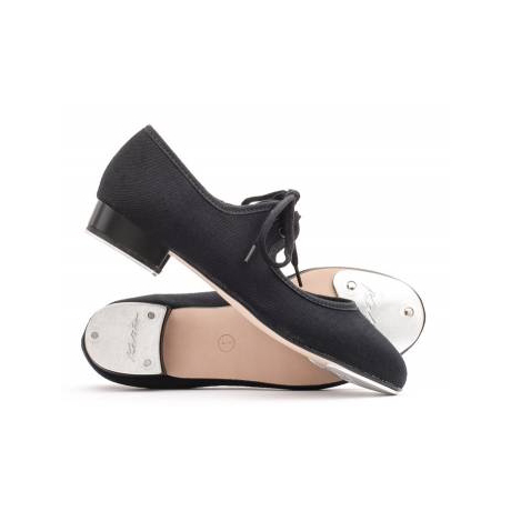 Katz Low Heel Canvas Tap Shoes - Toe & Heel Taps - Black