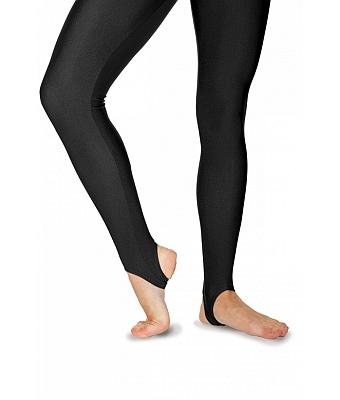 Nylon Lycra Stirrup Leggings - Black