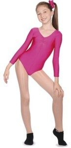 Long-Sleeve Nylon-Lycra Leotard with Gathered Bust