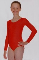 Long Sleeve Lycra Leotard with Plain Front