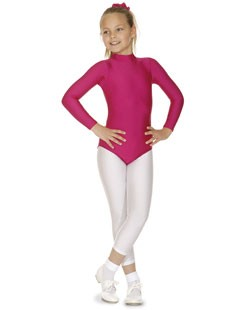 Long Sleeve Polo Neck Nylon Lycra Leotard with Keyhole Back