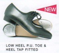 Low Heel P.U Tap Shoe - Toe and Heel Taps