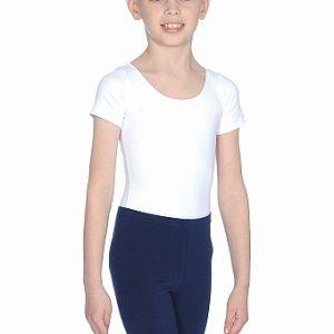 Roch Valley Boy's Short-Sleeved Cotton/Lycra Leotard - White