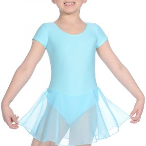 Roch Valley Short-sleeved Leotard with Attached Skirt (Aqua)