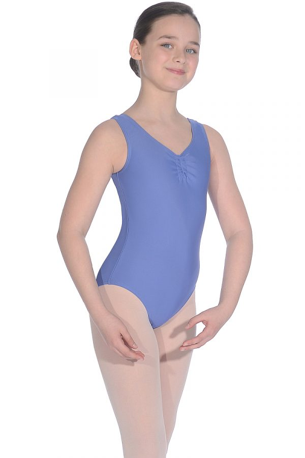 Sleeveless leotard with adjustable ruche (cornflower)