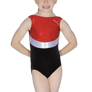 Roch Valley RVRIO Velour & Shiny Nylon/Lycra Sleeveless Leotard - Red/Silver/Black