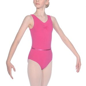 Roch Valley Sleeveless Gathered Bust Cotton/Lycra Leotard - Mulberry