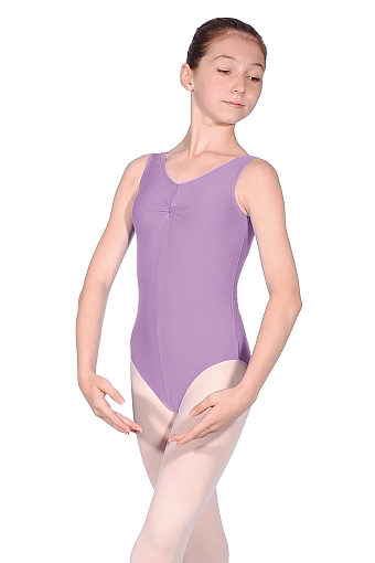 Roch Valley Sleeveless Nylon Lycra Leotard with Gathered Bust - Lilac