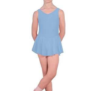 Sleeveless Nylon Lycra Leotard with Attached Skirt and Gathered Bust - Panama