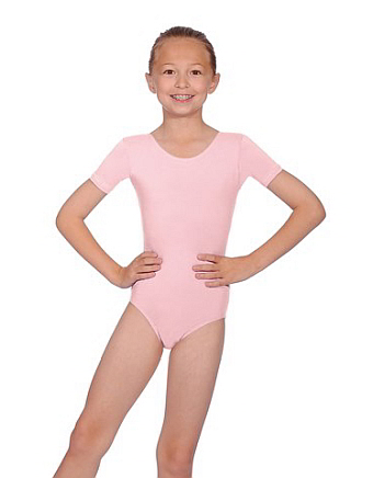 Short-Sleeved Cotton/Lycra Primary Leotard - Pink