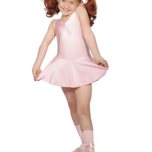 Sleeveless Nylon Lycra Leotard with Attached Skirt and Gathered Bust - pale pink