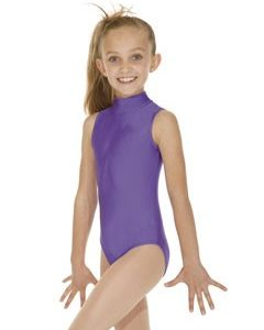 Sleeveless Polo Neck Nylon-Lycra Leotard with Keyhole Back