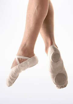Só Dança Men's Canvas Split Sole Canvas Ballet Shoes (White)